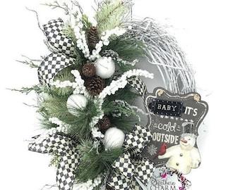 ON SALE Door Wreath Winter, Winter Snowman Wreath, Everyday Winter Wreath, Snowman Door Wreath, Snowball Wreath, Black and White Wreath