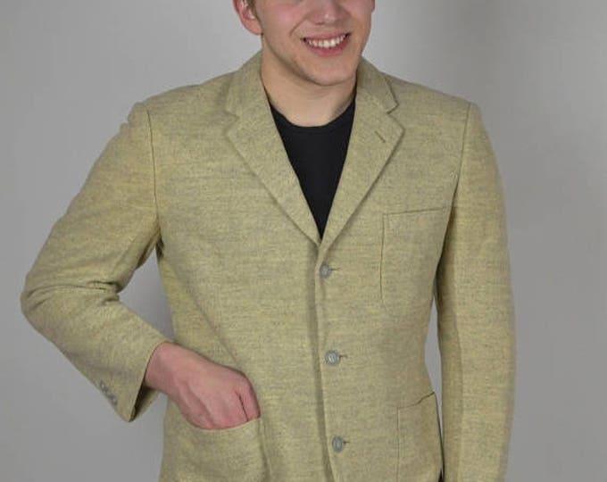 sale Vintage Suit Coat, Vintage Blazer, 50s Sport Coat, Flecked Sport Coat, 1950s Sport Coat,  Pale Yellow Gray, 1950s Blazer, Grey Sport Co