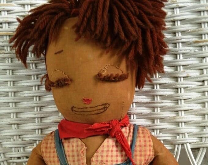 sale Vintage Doll, Black Americana, Black Doll, Boy Doll, Raggedy Andy Doll, Fabric Doll, 1920's Doll, Historical Doll, Handmade Doll