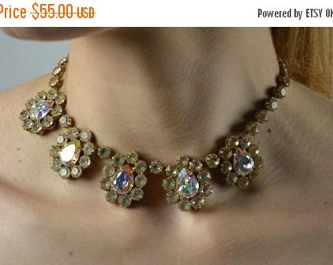 sale Rhinestone Choker, Vintage Necklace, 50s Jewelry, Bridal Necklace, Aurora Boralis Rhinestone,Choker Necklace, Gift for Her, Wedding Nec