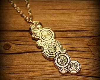 Summer SALE The Doctors Name-  Gallifreyan Necklace or Pin