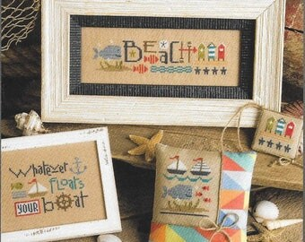 Lizzie Kate Red White & Beach #184 Counted Cross Stitch Pattern