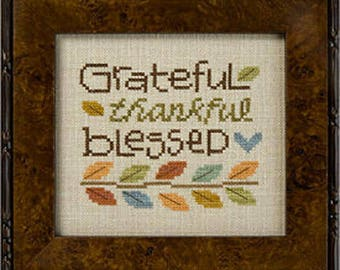 Lizzie Kate Snippet S124 - Grateful Thankful Blessed - Counted Cross Stitch Pattern