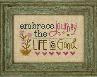 Lizzie Kate Flip-It F154 - Embrace The Journey - Counted Cross Stitch Chart Pattern with Button