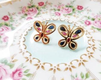 18K Butterfly Earrings Sapphire Ruby Gemstone Yellow Gold Post Clutch Vintage Estate Fine Jewelry