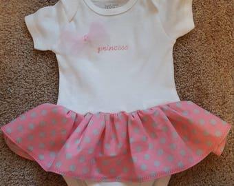 "Precious embroidered ""princess"" onesie dress 0-3 months"