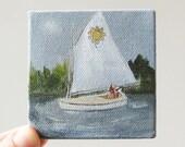 sunflower sailboat / original painting on canvas