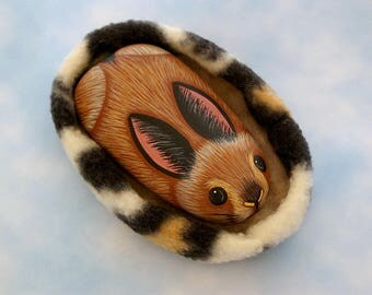 Chocolate brown Easter bunny-Easter basket filler-spring-hand painted pet rocks-American Girl doll rabbit-fleece pet bed-miniature animal