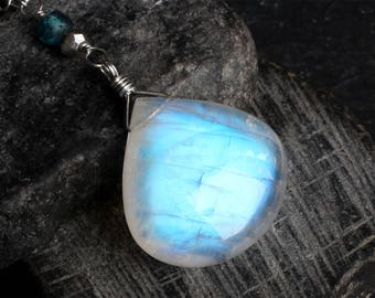 BIG Moonstone Necklace - Moonstone Jewelry - Rainbow Moonstone Necklace - Sterling Silver Necklace - London Blue Topaz - Silver Pyrite