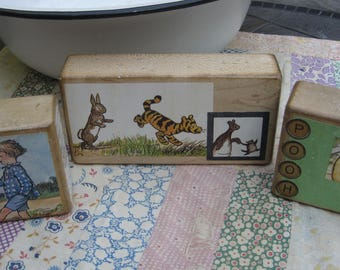 Set of Three Vintage Style Wooden Toy Blocks Winnie the POOH