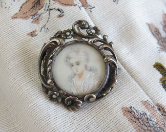 Pretty Antique French Miniature Portrait Silver Brooch, Solid Silver Pin, Hand Painted Portrait Miniature, Floral Scrolling & Seed Pearls