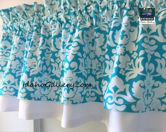 """Turquoise and White Curtain Tropical Theme Double Layered Valance Kitchen Curtain Bedroom Curtain Short 11"""" Long Curtain"""