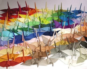 100 Small Origami Cranes Origami Paper Cranes - Made of 7.5cm 3 inches Japanese Tant Paper - 100 Different Colors