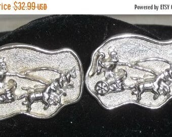 ON SALE Vintage Swank Roman Gladiator Chariot Large Cuff Links Cufflinks Silver Tone