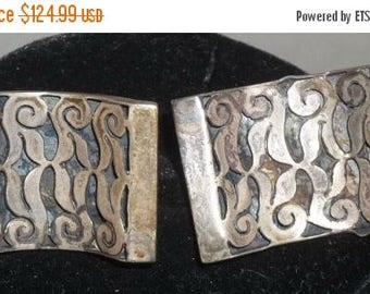 ON SALE Vintage Espinosa 40's Modernist Sterling Silver Cuff Links Cufflinks Large