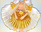 OOAK Polymer Clay Miniature Baby Shell Angel Art Doll Fantasy Sculpt