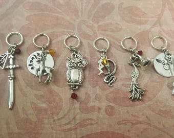 Harry Potter Inspired Stitch Markers - Knitting or Crochet - Set of 6