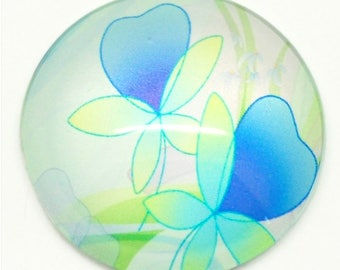 1 x large sticker flower glass 30mm MAT1921 ❀