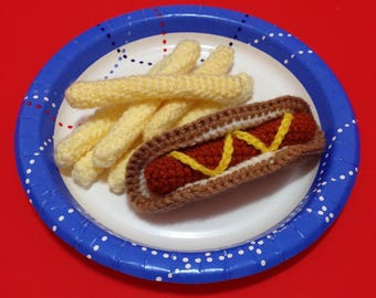 Plush Hot Dog and French Fries Pretend Play Food