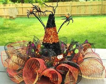 SALE- Witch Hat Glitter Orange Black - Fall Halloween Centerpiece