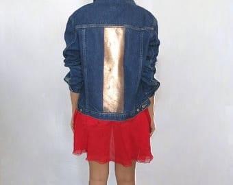40% SUMMER SALE The Vintage Dark Wash Rose Gold Back Stripe Jacket