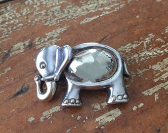 The Vintage Sterling Silver M.H. 925 Lucky Elephant Brooch Pin