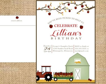 Apple Orchard Invitation with  apple orchard hayride and barn