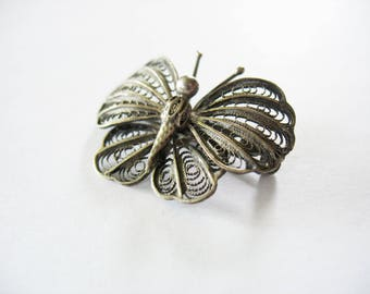 Butterfly Brooch, Filigree, Cannetille, Fashion Pin, Sterling Silver, Patina, Accessory, 1950s, Butterfly wings