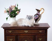 Dollhouse Miniature Gray and White Silver Persian Longhaired Exotic Cat Artist Furred Laying Down OOAK