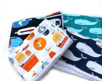 SALE Nautical Burp Cloths - Set 4 / Cotton Diaper Burp Cloths / Boats Whale Burp Cloth - Baby Shower Gift / Blue Burp Cloth / Burp Cloth Set