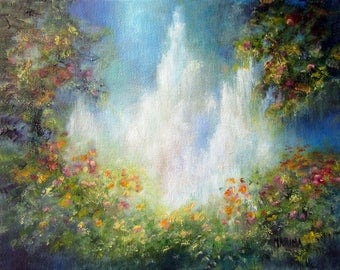 Landscape Painting, Waterfall Painting, Heaven's Healing Waters, Original Art, Oil Painting, Wall Decor, Wall Art, Home Decor,
