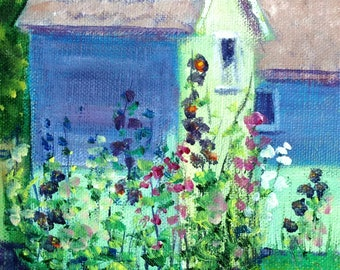 Outhouse and Hollyhocks