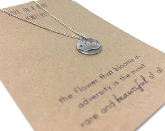 Lotus Necklace - Lotus Charm - Minimalist Necklace - Sterling Silver Lotus Necklace -  Yoga Necklace - Gift for Yogi - Necklace Card