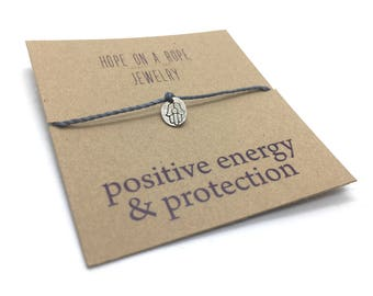 Hamsa Bracelet - Sterling Silver Hamsa Bracelet - Cord Bracelet - Hamsa Charm Bracelet - Spiritual Bracelet - Protection - Yoga bracelet -