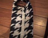 hounds tooth winter dog coat made and ready to ship 1 medium left
