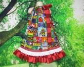 Girls Dress 5/6 Back To School Blue Red ABC's Crayons, School Bus Pillowcase Dress, Pillow Case Dress, Sundress