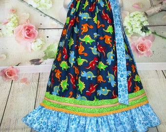 Girls Dress 6/7 Dinosaur's Dark Blue Aqua Green Pillowcase Dress, Pillow Case Dress, Sundress, Boutique Dress