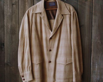 Wool Plaid Pendleton Jacket Sport Coat Cream and Tan Vintage From Nowvintage on Etsy