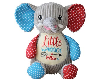 Personalized Baby Gift Personalized Stuffed Animal Monogrammed Elephant Embroidered Birth Announcement by Renees Embroidery