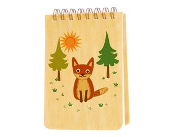 fox mini notepad with real birch wood covers - jotter - small notebook - j1941