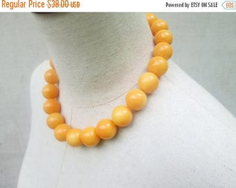 XMAS in JULY SALE Chunky Light Orange Beaded Necklace, Creamsicle Peach Round Beads Lightweight Choker