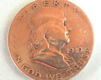 Vintage  1949s Franklin Half Dollar, Silver Franklin Half Dollar, Silver Coins, Rare Coins, USA Coins, FREE Shipping