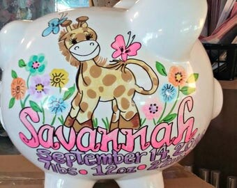 Personalized Piggy Bank Giraffe Baby and Flowers Pastel Colors Handpainted