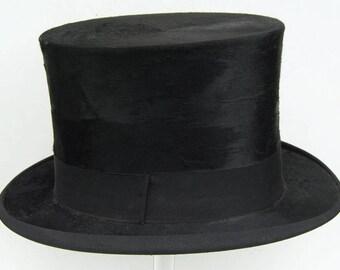 "22"" - Vintage 1920's Mens' Black Beaver Fur Top Hat"