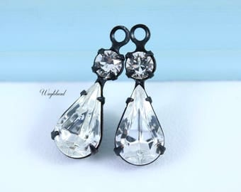 Vintage Glass Drops Pear Shaped Set Stones 1 Ring Black Antique Brass Settings 23x8mm Crystal & Crystal - 2