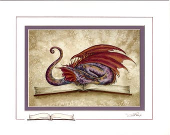 Hand Accented FAIRY DRAGON PRINT 5x7 matted 8x10 by Amy Brown