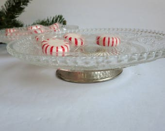 Vintage Pressed Glass Dish with Silver Plate Pedestal Base - Footed Sandwich Glass plate Candy Nut Dish - KIG Malaysia Fleur De Lis Pattern