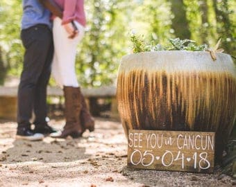 SaVe THe DaTe SiGn - Engagement Photos Sign - See You In CABO - See You in Cancun - RuSTic WeDDing SiGn - Dark Stain Wood Sign - 15 x 7