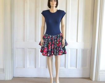 80s Vintage Mini Dress Ruffled Tiered Skirt