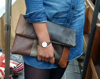 leather clutch, brown leather bag, fold over clutch, envelope clutch, ipad, tablet, manbag, patchwork, leather pouch, recycled clutch,